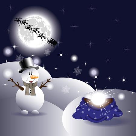 merrily: Pupazzo di neve e con pacco regalo Vettoriali