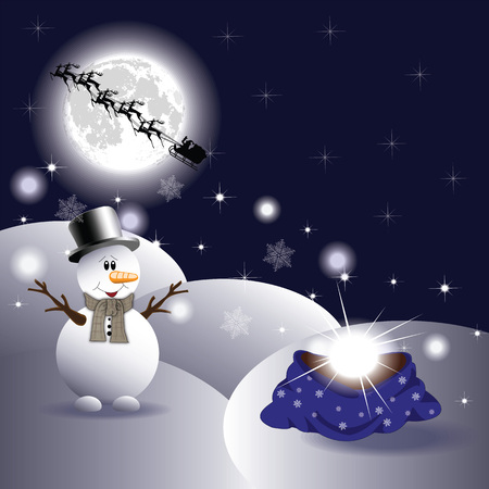 merrily: Snowman and with gift bag