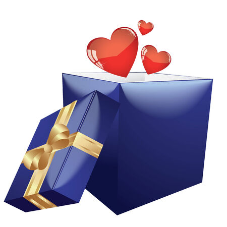 corazones: Heart shapes coming out form open gift box