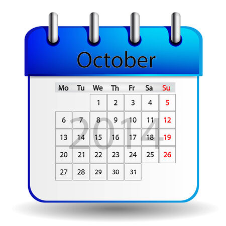 october calender: Calendario de octubre Vectores
