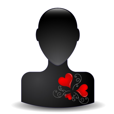 Black silhouette with heart Vector
