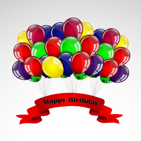 happy birthday balloons: Happy Birthday Balloons Card Illustration