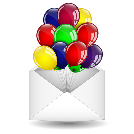 Envelope and colorful balloons Vector