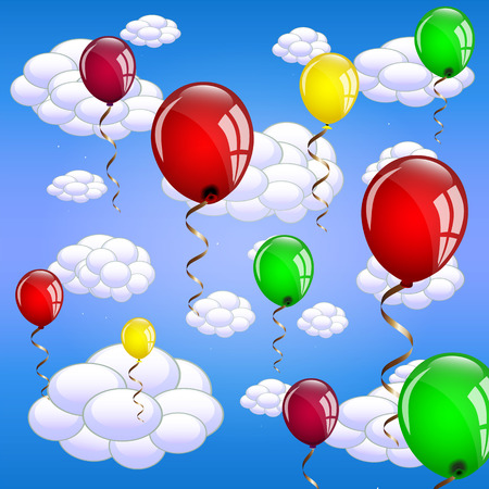 Balloons floating in the sky Vector