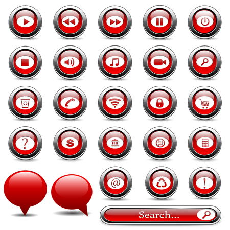 bell shaped: Set of red buttons