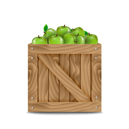 wooden box: Wooden box full of apples Illustration