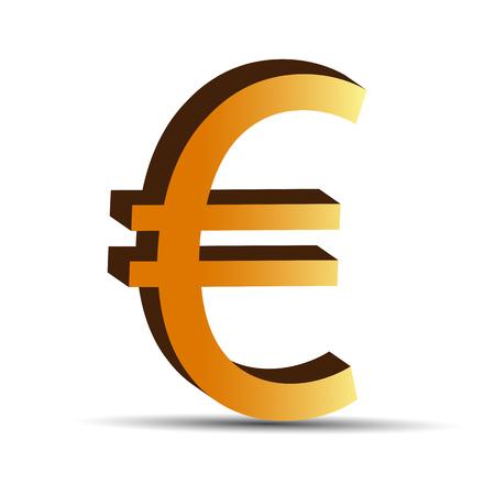 euro teken: Gouden euro teken op wit