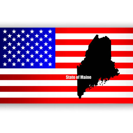 u  s: Map of the U S  state of Maine Illustration