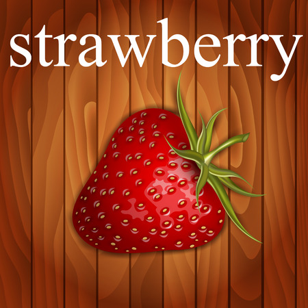 Strawberry on wooden background Vector