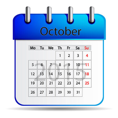 october calender: Calendario octubre Vectores