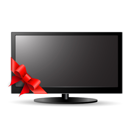 lcd: LCD TV with red bow