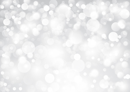Shiny silver background with glowing blurred circles 矢量图像