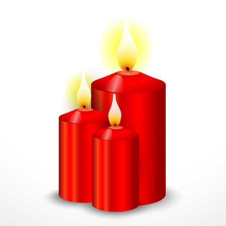 lighted: Red Christmas Candles on a white background