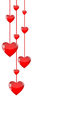 Red hearts hanging like garlands on a white background Illustration