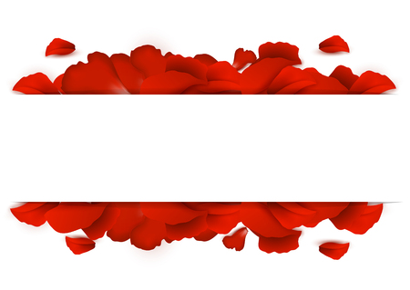 Background of red rose petals on a white background Illustration