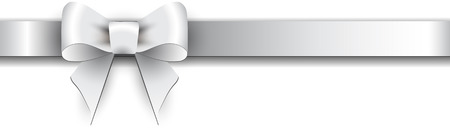 Silver satin bow on a white background 일러스트