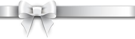 ruban blanc: Argent noeud de satin sur un fond blanc