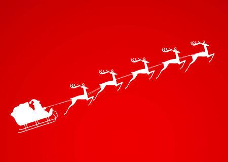 santa sleigh: Santa Claus rides in a sleigh reindeer on red background