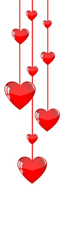 confess: Red hearts hanging like garlands on a white background Illustration
