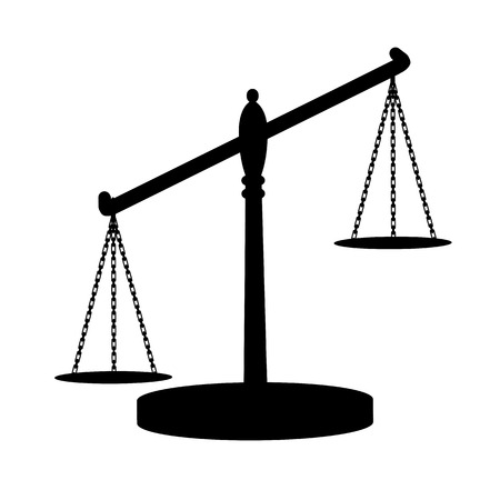 financial stability: Scales of justice on a white background