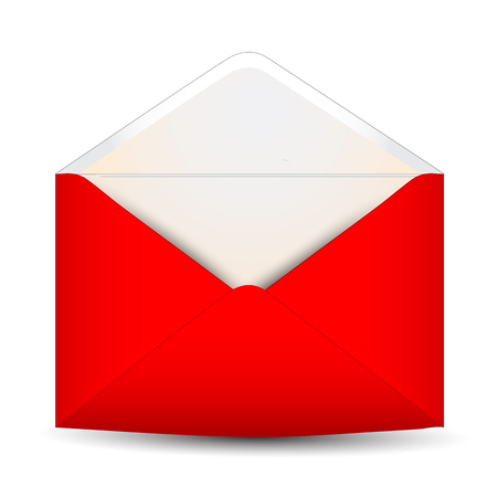 red  open: Red open envelope on a white background Illustration