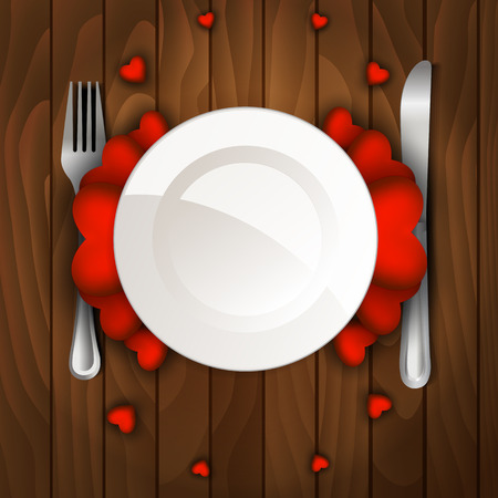 Valentines day dinner with table setting on wooden table