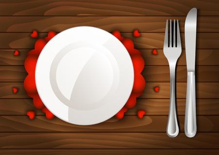 dinner date: Dinner Valentines Day on a wooden background Illustration