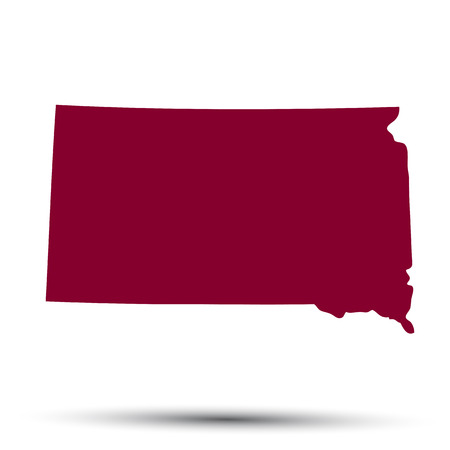 red sign: Map of the U.S. state of South Dakota on a white background Illustration