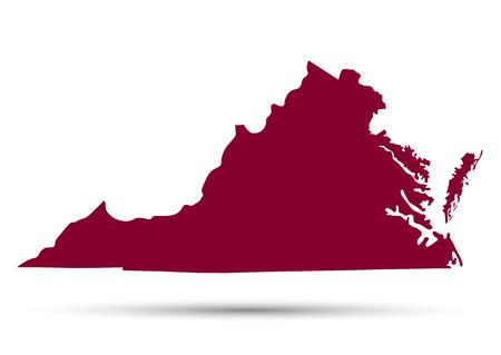 白い背景に、米国バージニア州の地図