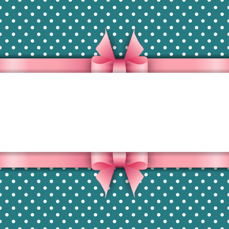 pink ribbons: Cute background with pink ribbons on a blue background Illustration