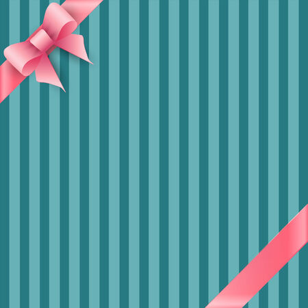 tied girl: Bow and ribbon on blue striped background