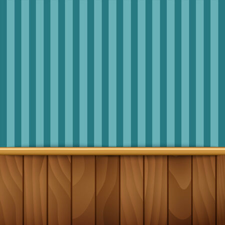 striped wallpaper: Striped wallpaper with wood paneling Illustration