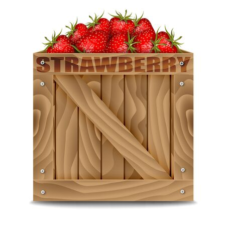 wooden box: Strawberries in wooden box isolated on white
