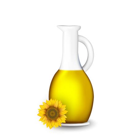 Bouteille d'huile de tournesol avec des fleurs isolé sur blanc