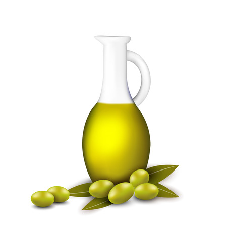 mediterranean diet: Branch with olives and a bottle of olive oil. Illustration