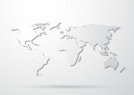 Gray World Map  イラスト・ベクター素材