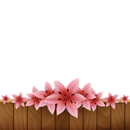 lilium: Frame of lilies on a wooden background Illustration