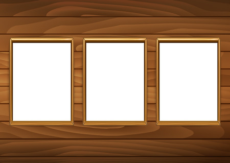 photographs: Frames for paintings or photographs on the brick wooden background