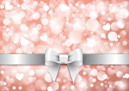 Holiday background with gift silver bow