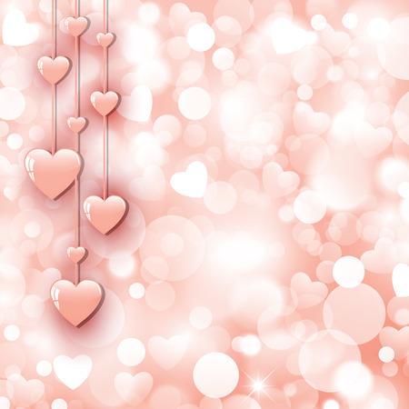 美しいピンクの心と背景  イラスト・ベクター素材