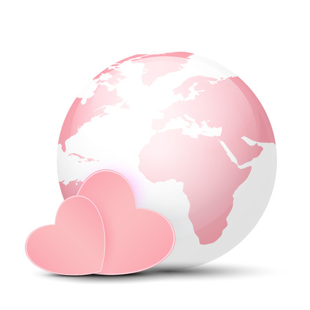 glass heart: Pink Globe and hearts Illustration