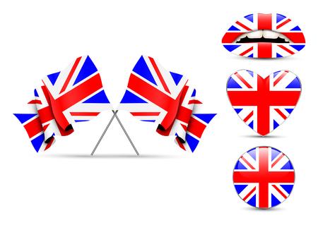realist: Set of England design over white background