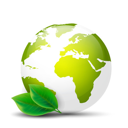 Earth globe with green leaves