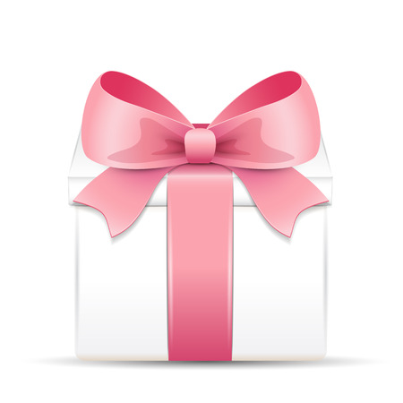 Gift box with a pink bow Illustration