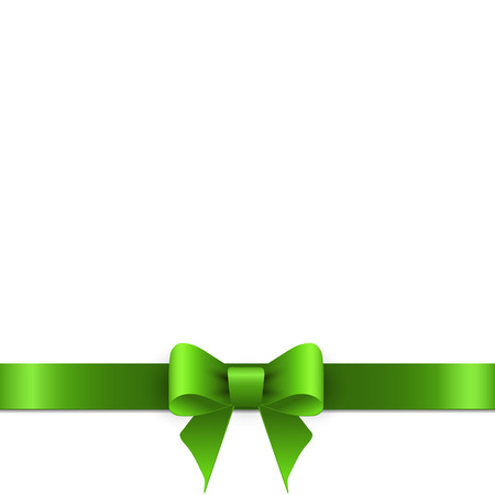 Green bow with ribbons Vector