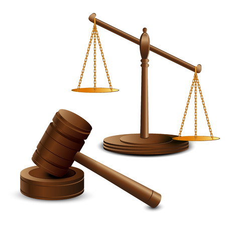 scales of justice: Scales justice and hammer