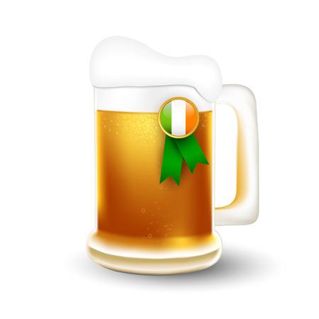 irish beer: Mug of beer and Irish flag