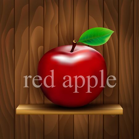 red apples: Red apples on wooden background Illustration