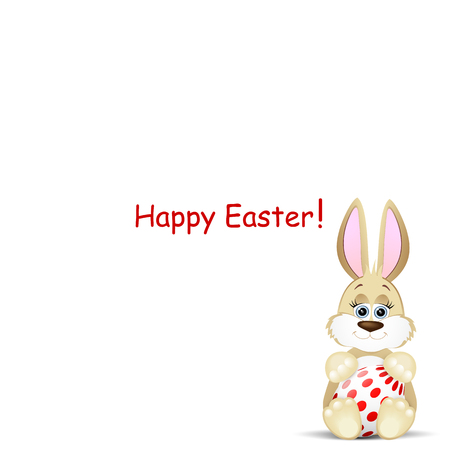 colorfully: Easter card with funny rabbit Illustration