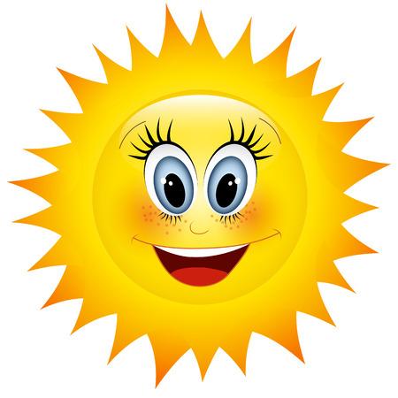 sun vector: Smiling sun